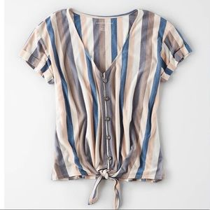 AE Tie Front Button Up Top